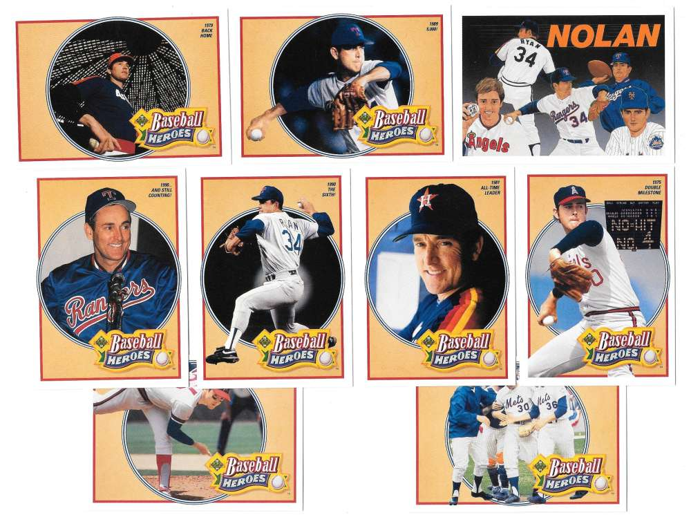 1991 Upper Deck Nolan Ryan Heroes 9 card set