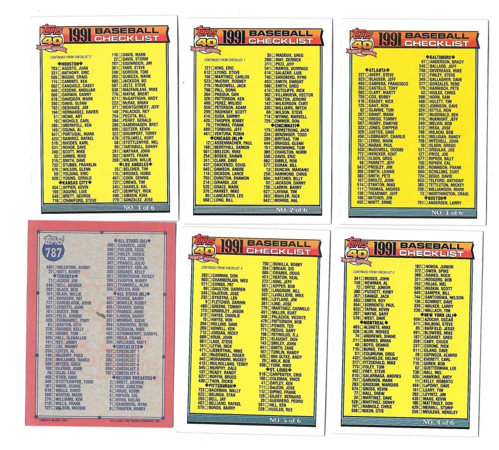 1991 Topps - CHECKLIST (6 Card set)