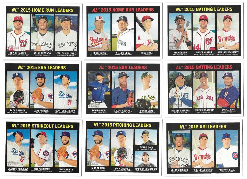 2016 Topps Heritage - League Leaders 12 card subset