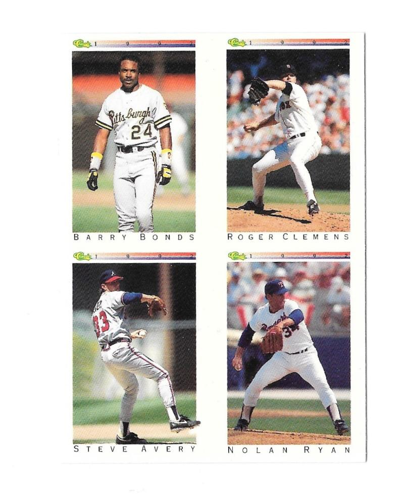 1992 Classic I - 4-in-1 NNO Card  Barry Bonds, Roger Clemens, Steve Avery and Nolan Ryan