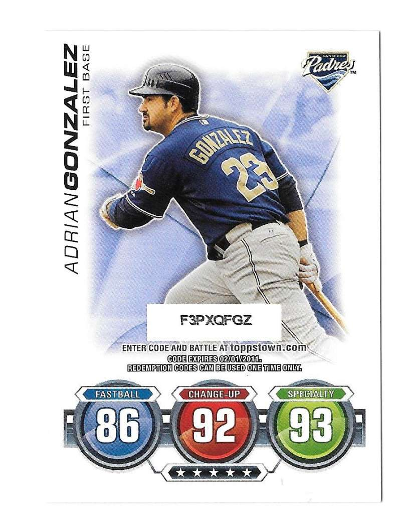 2010 Topps Update Attax Code Cards - SAN DIEGO PADRES