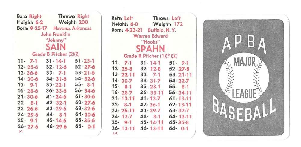 1950 APBA (Reprint) Season - BOSTON BRAVES Team Set