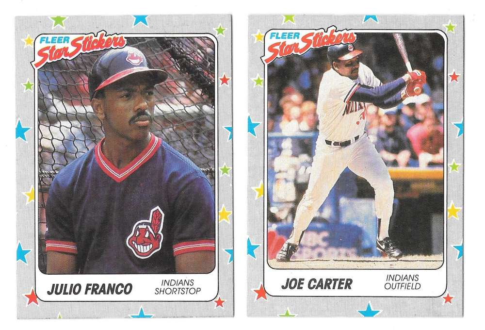 1988 Fleer Stickers - CLEVELAND INDIANS Team Set