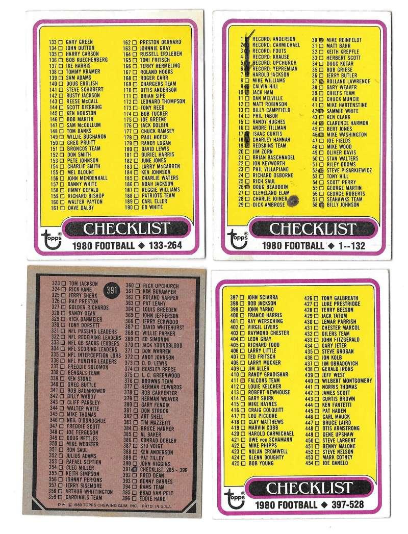 1980 Topps Football 4 card Checklist Set marked