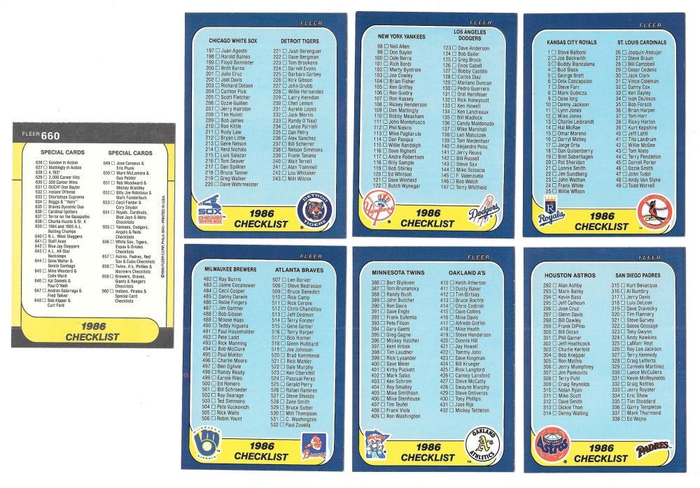 1986 Fleer - 7 card checklist subset
