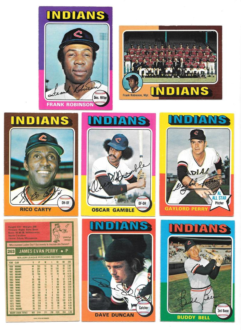1975 O-Pee-Chee (OPC) - CLEVELAND INDIANS Team Set EX+ Condition