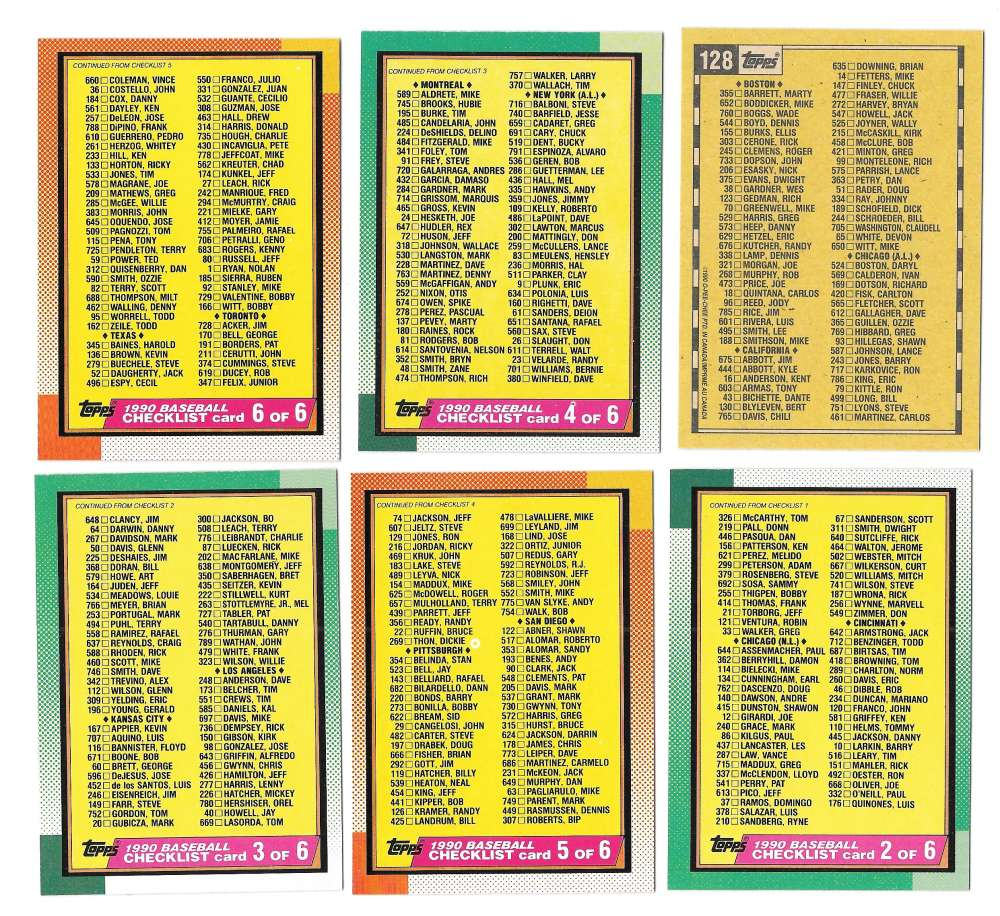 1990 O-Pee-Chee (OPC) - 6 card Checklist subset