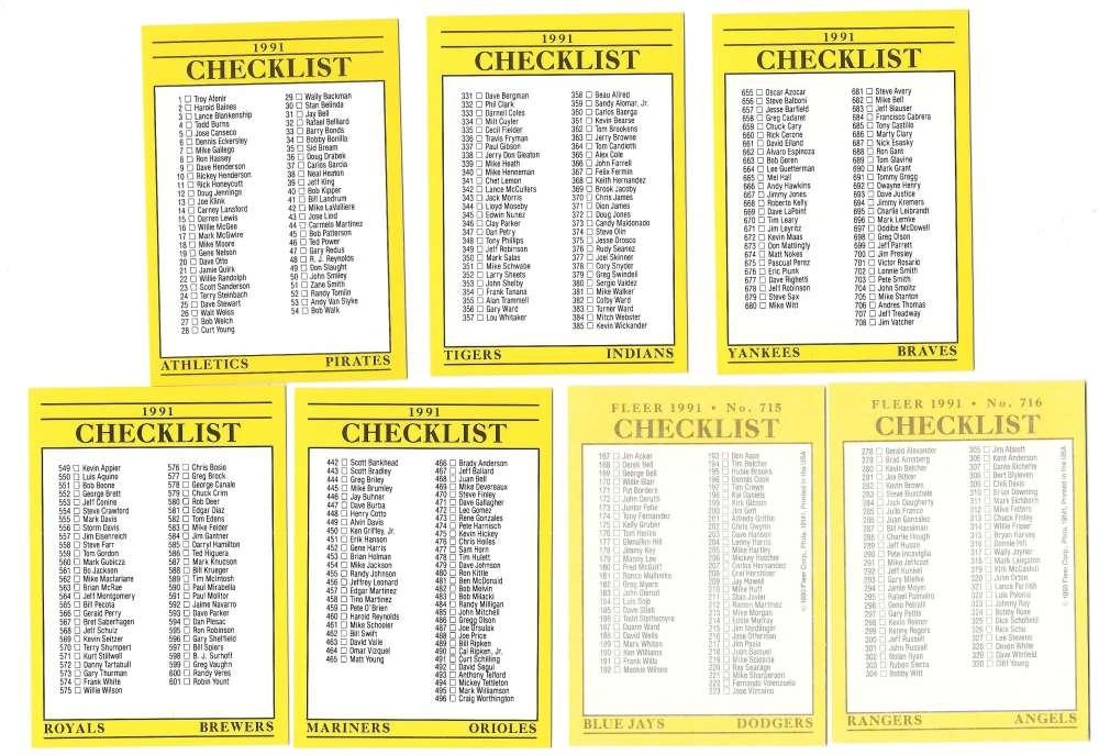 1991 Fleer - 7 card Checklist set