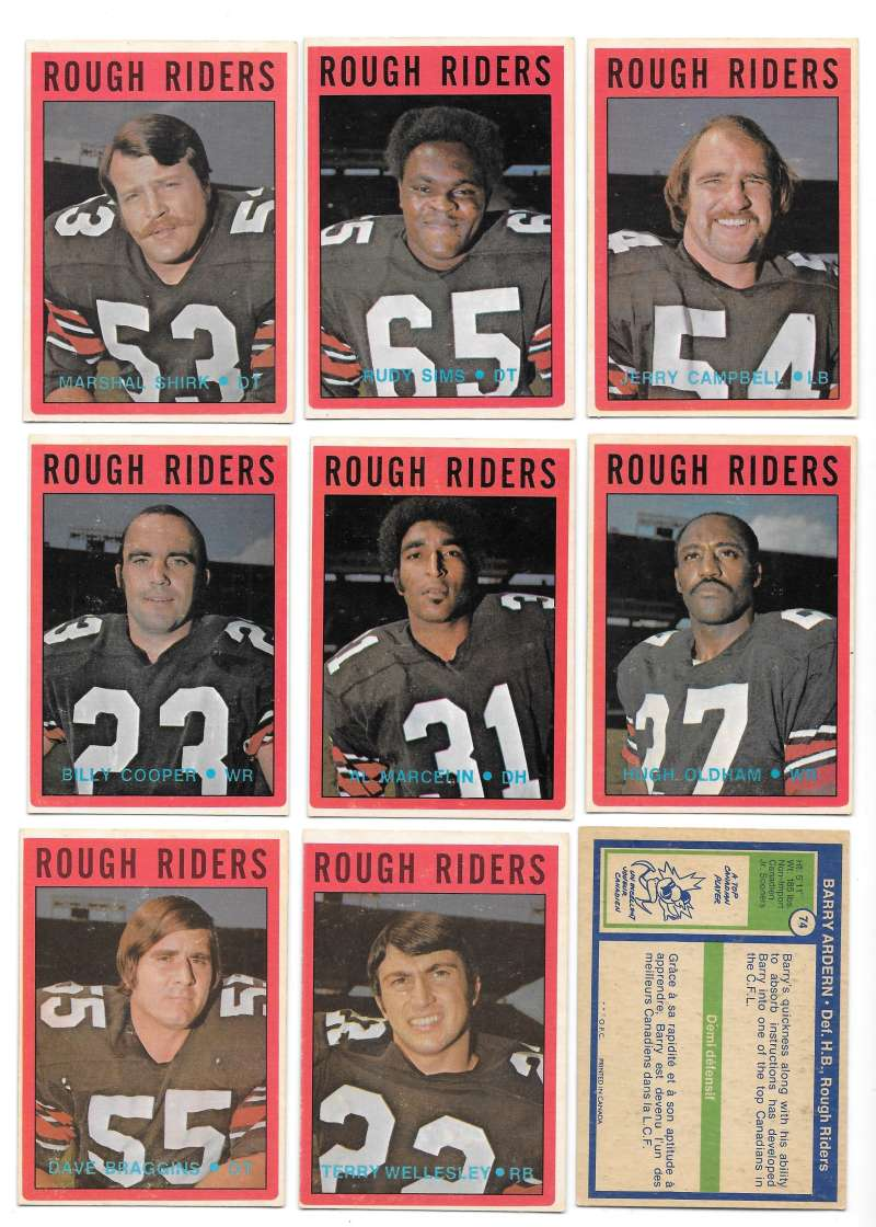 1972 O-Pee-Chee CFL Team Set - Ottawa Rough Riders