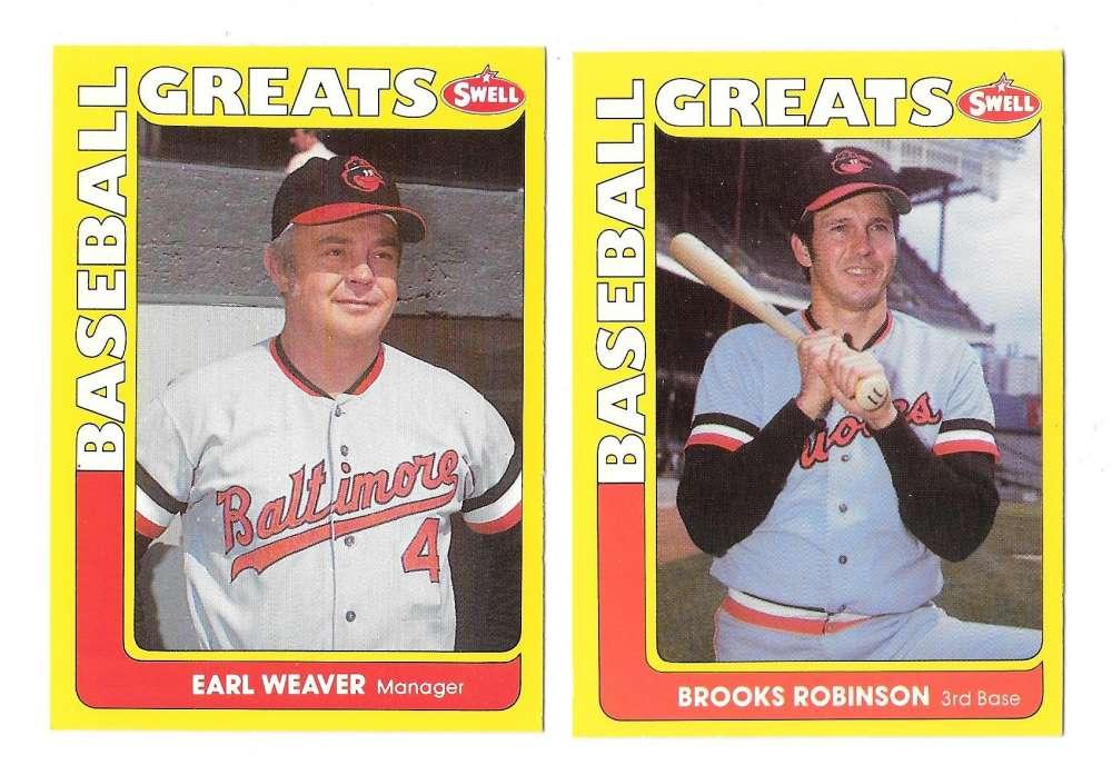 1991 Swell Baseball Greats - BALTIMORE ORIOLES Team Set