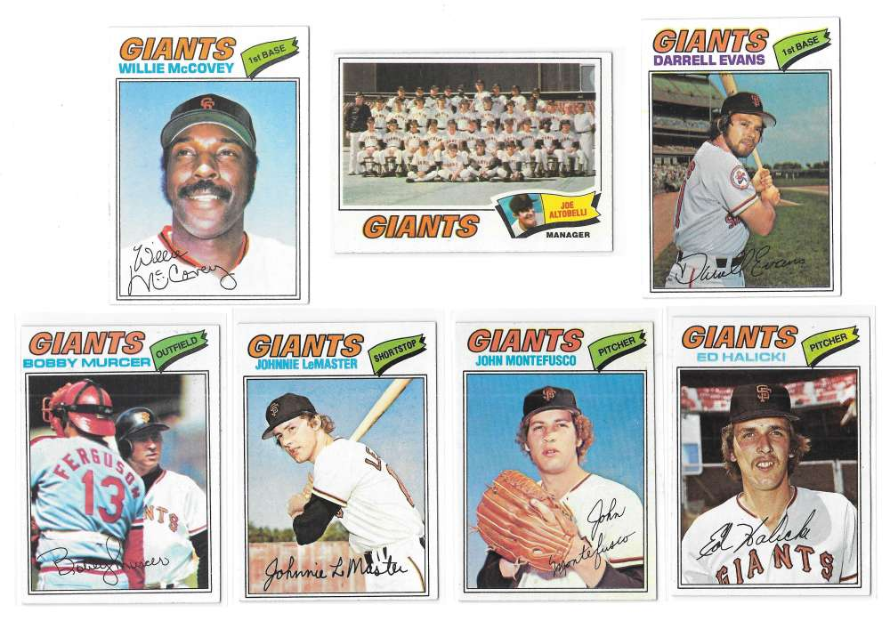 1977 Topps C - SAN FRANCISCO GIANTS Team Set