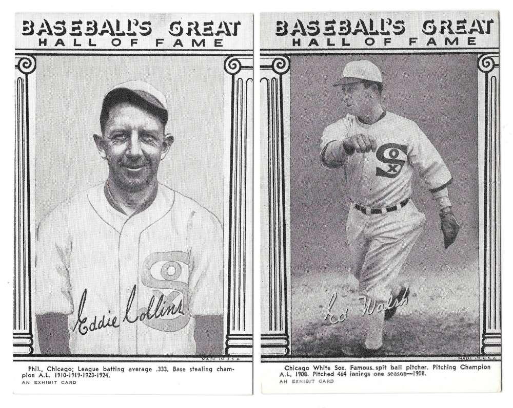 1974 Baseballs Great HOF Exhibit Cards - CHICAGO WHITE SOX Team Set