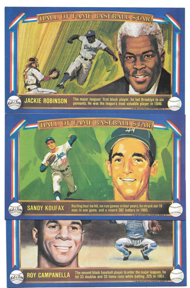 1982 Davco Hall of Fame (4x7) - LOS ANGELES DODGERS Team Set