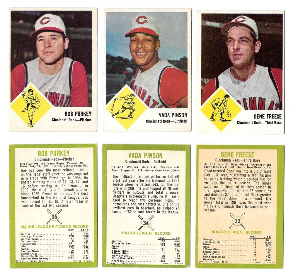 1963 Fleer - CINCINNATI REDS Team Set