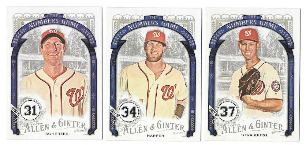 2016 Topps Allen and Ginter The Numbers Game - WASHINGTON NATIONALS Team set