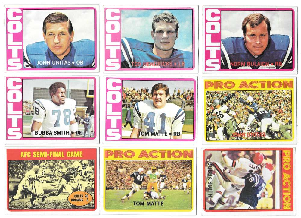 1972 Topps Football Team Set (1-263) - BALTIMORE COLTS