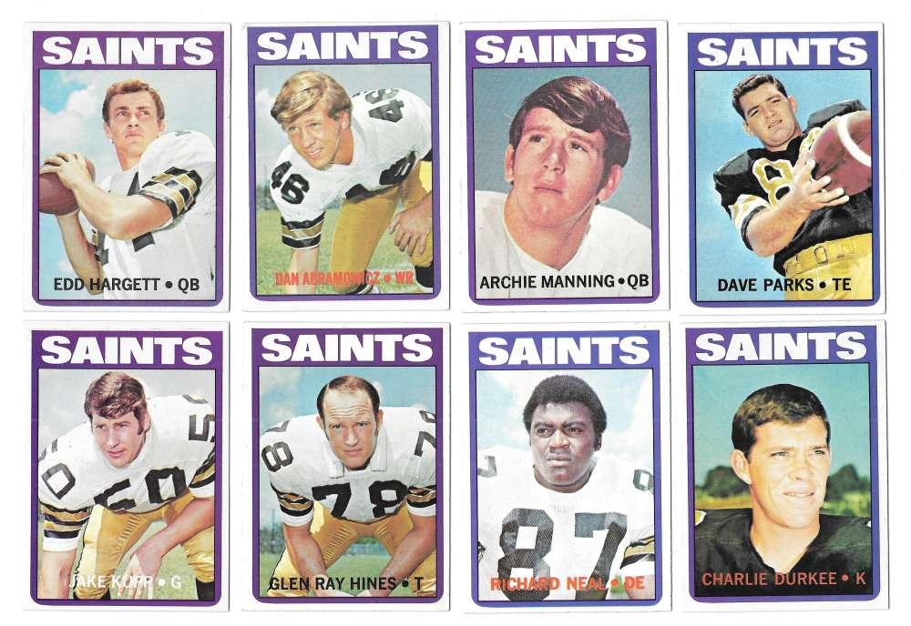 1972 Topps Football Team Set (1-263) - NEW ORLEANS SAINTS