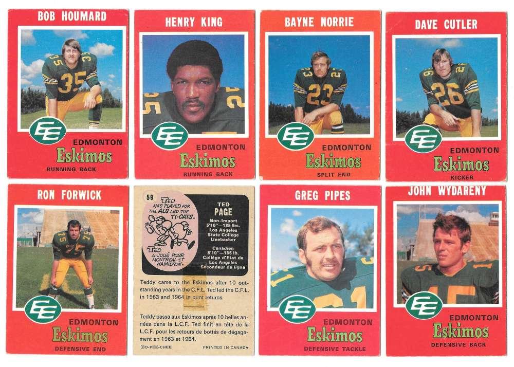 1971 O-Pee-Chee (OPC) CFL Team Set - Edmonton Eskimos