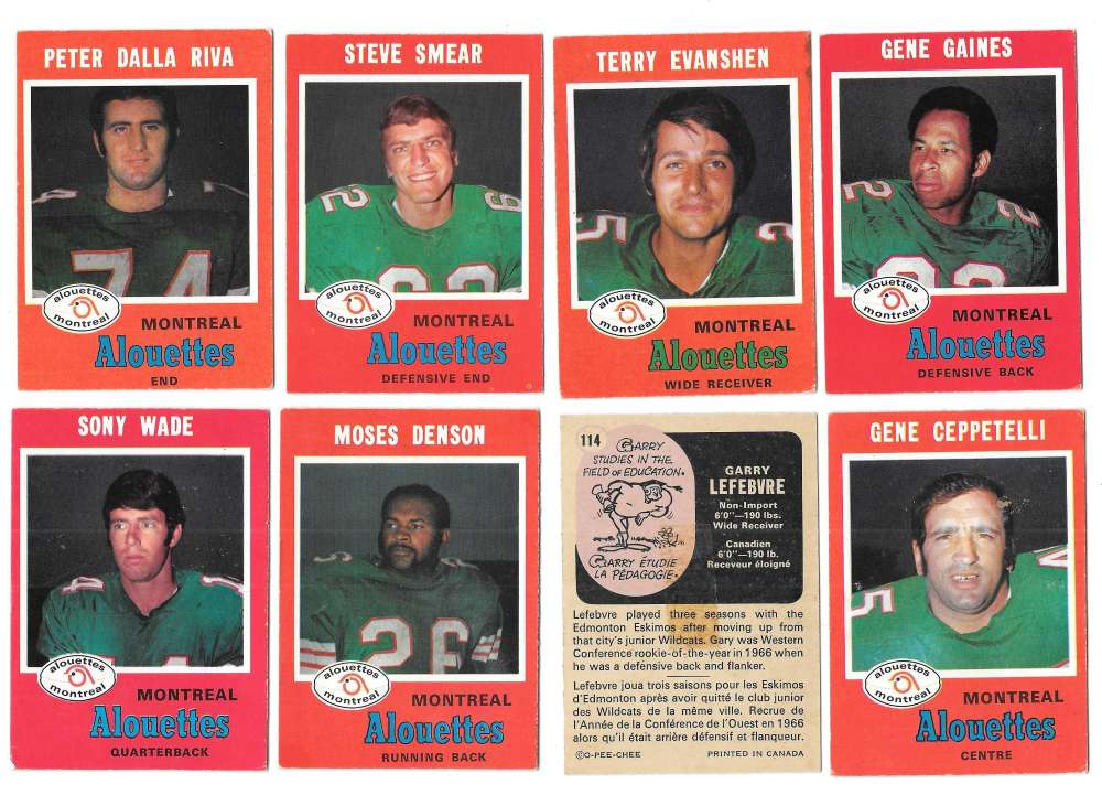 1971 O-Pee-Chee (OPC) CFL Team Set - Montreal Alouettes