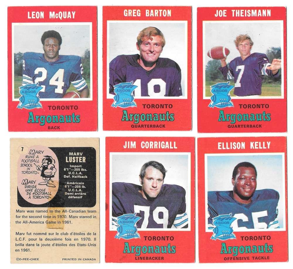 1971 O-Pee-Chee (OPC) CFL Team Set - Toronto Argonauts