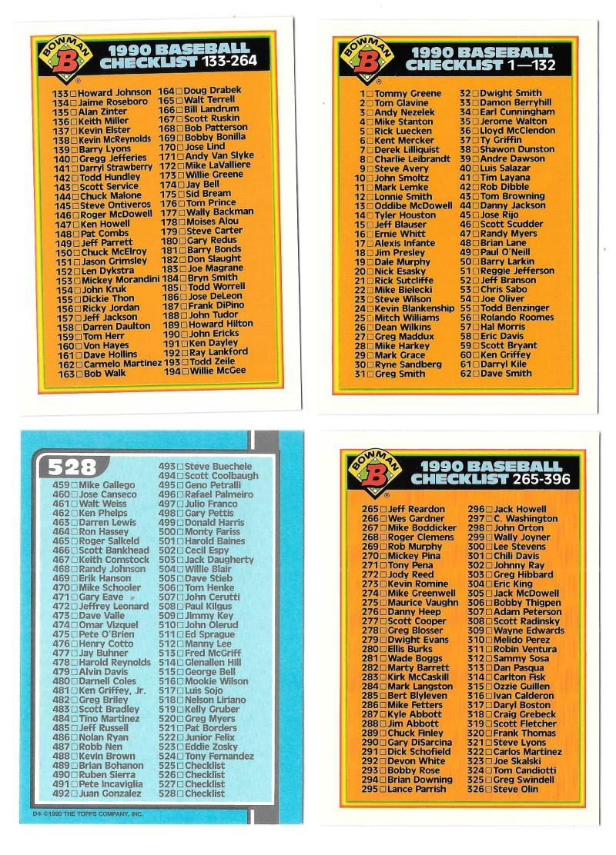 1990 Bowman Tiffany - 4 card Checklist set