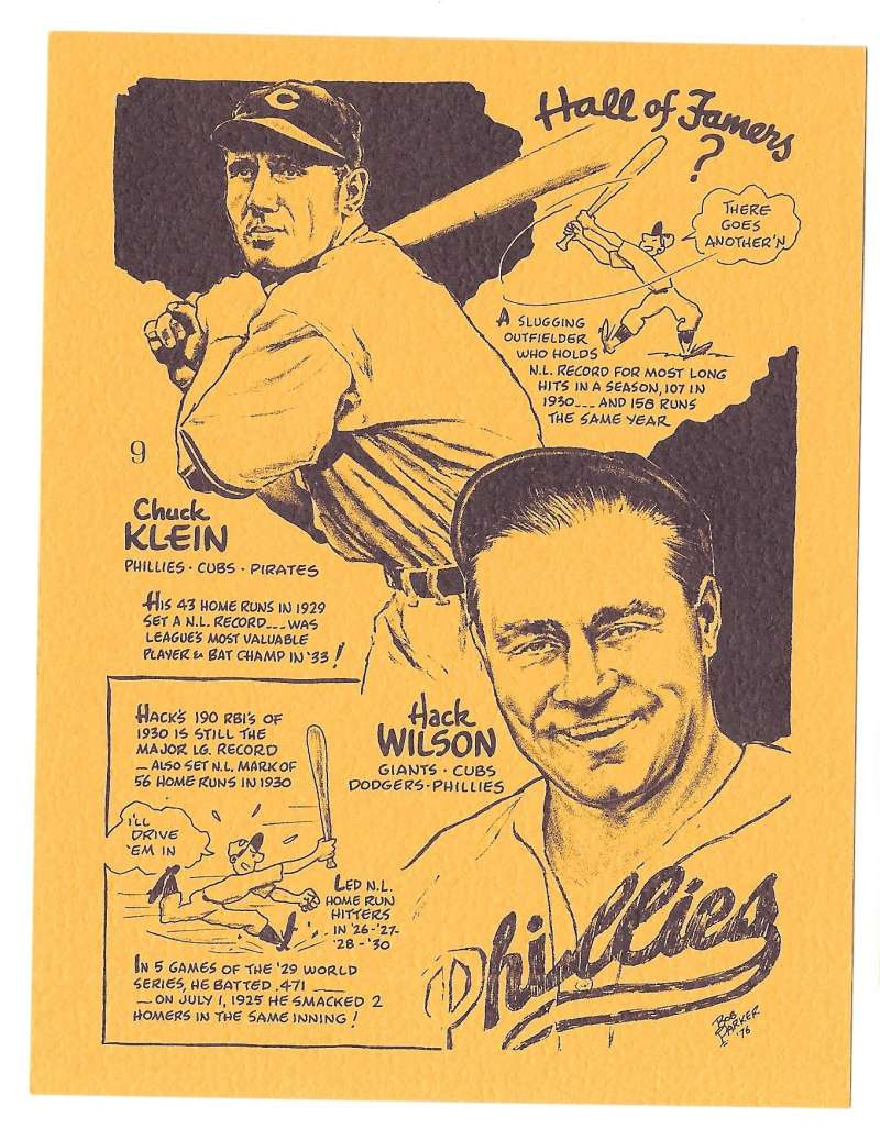 1977 Bob Parker More Baseball Cartoons (Yellow) - 9 Hall of Famers - Klein, Wilson