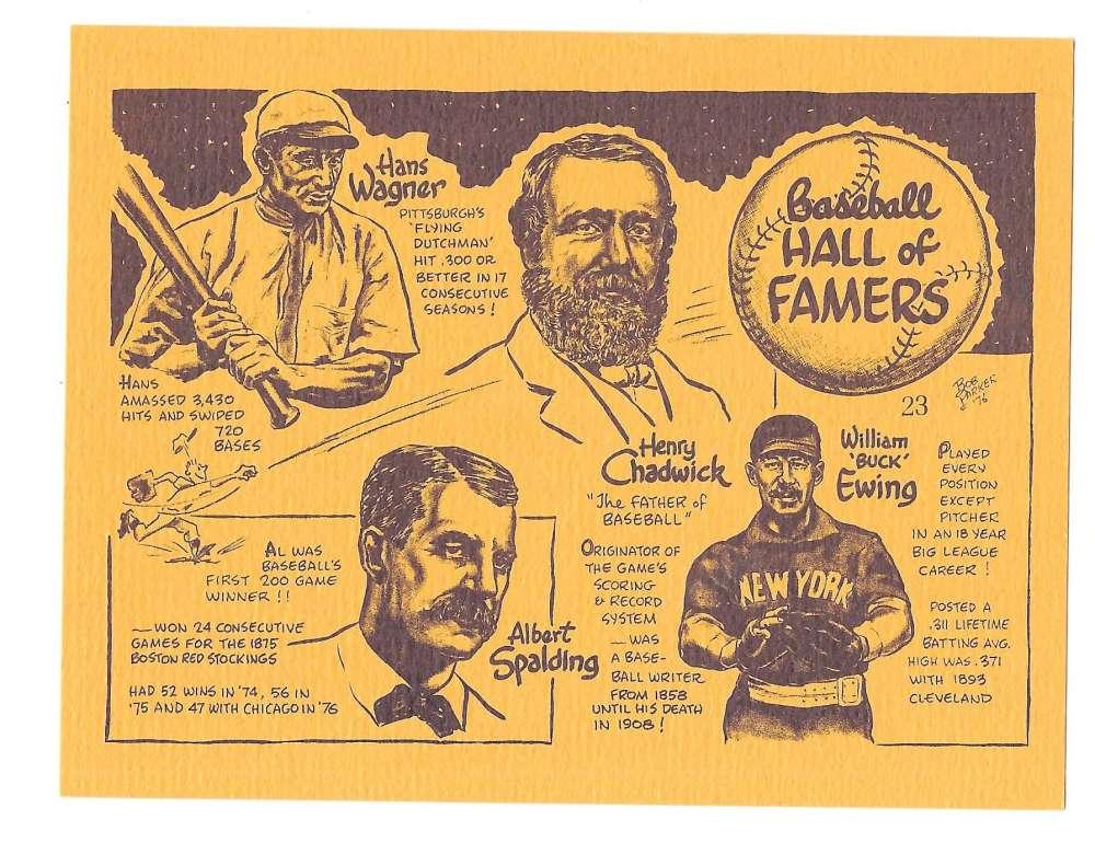 1977 Bob Parker More Baseball Cartoons (Yellow) - 23 Baseball Hall of Famers - Wagner, Spalding, Ewi