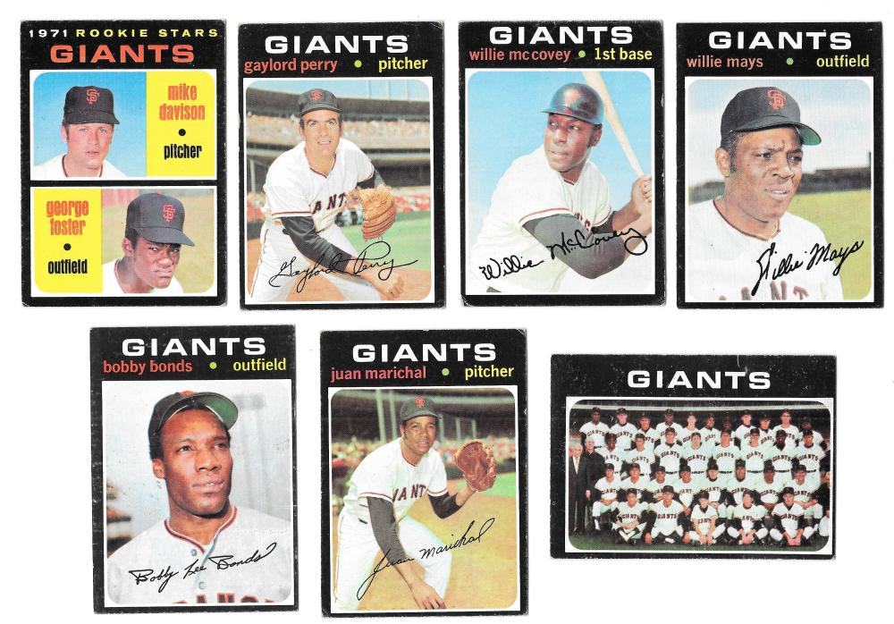 1971 Topps VG+EX SAN FRANCISCO GIANTS Team Set