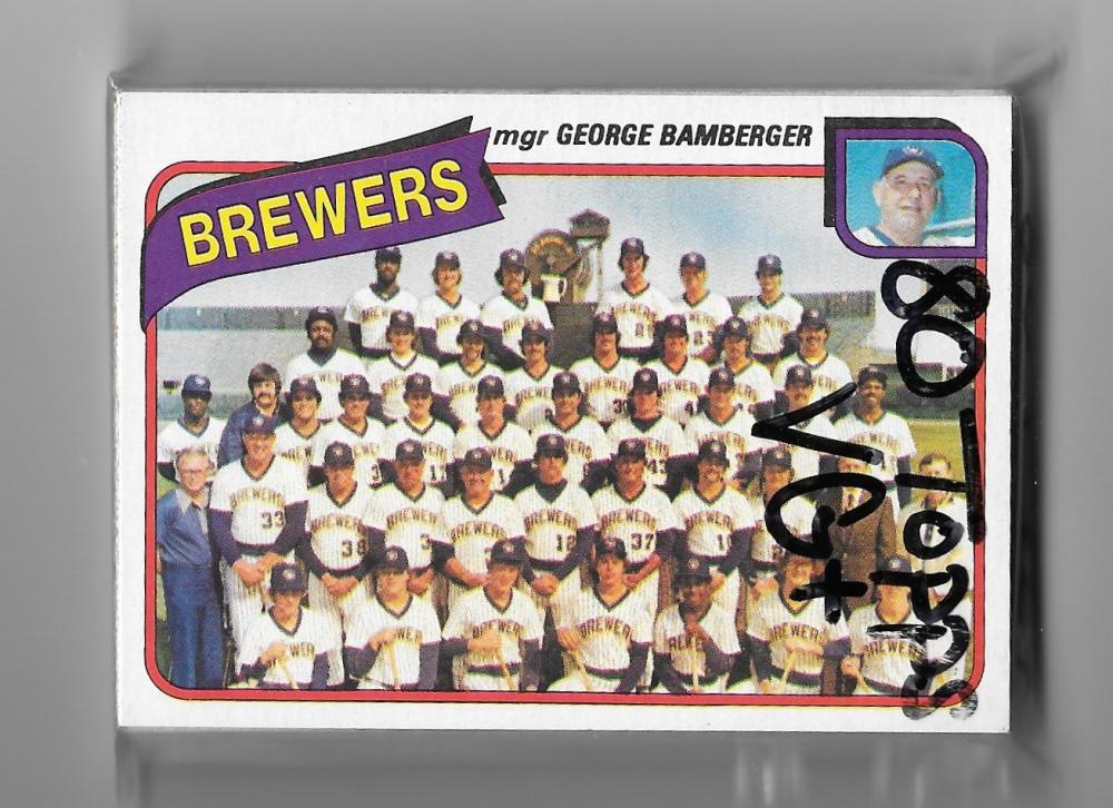 1980 Topps (VG+ Condition) MILWAUKEE BREWERS Team Set