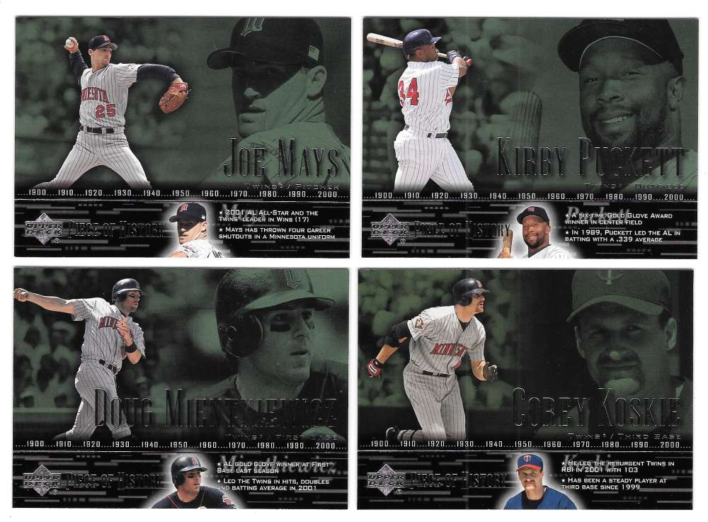 2002 Upper Deck Piece of History (Base) - MINNESOTA TWINS Team Set