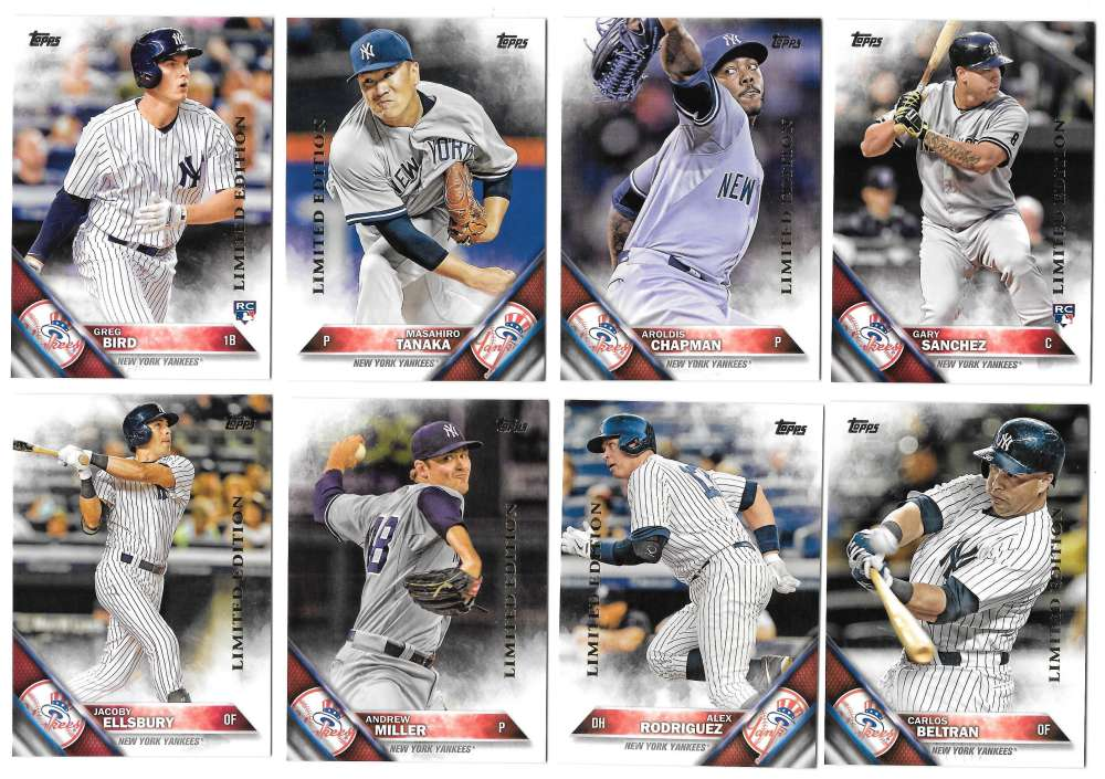 2016 Topps Limited Edition (Tiffany) - NEW YORK YANKEES Team Set