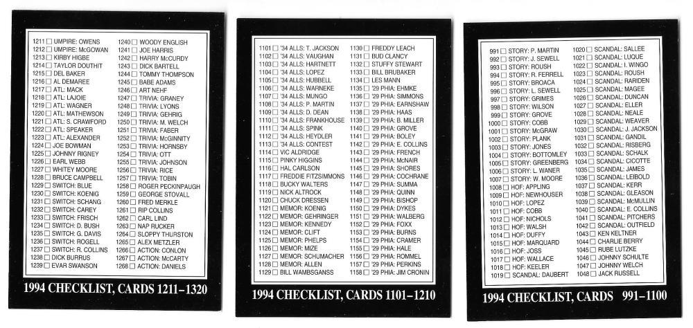 1994 Conlon - 3 card Checklist set