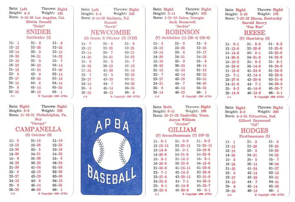 1954 APBA (Reprint) Season - BROOKLYN DODGERS Team Set