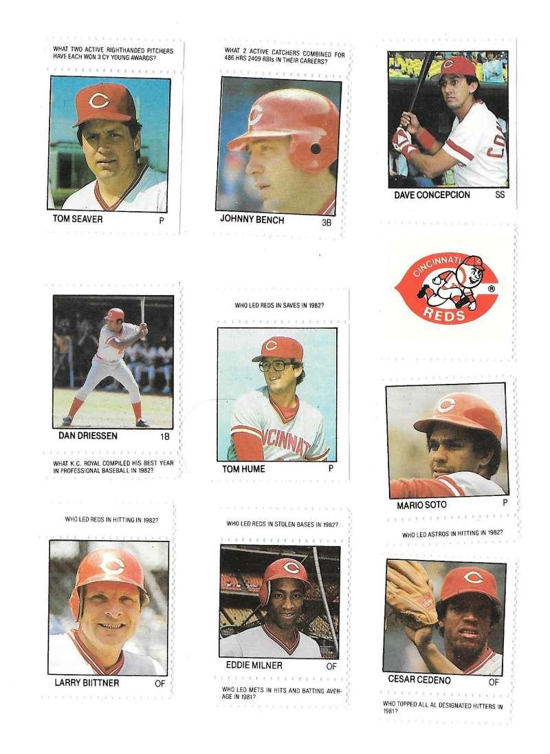 1983 Fleer Stamps CINCINNATI REDS Team Set