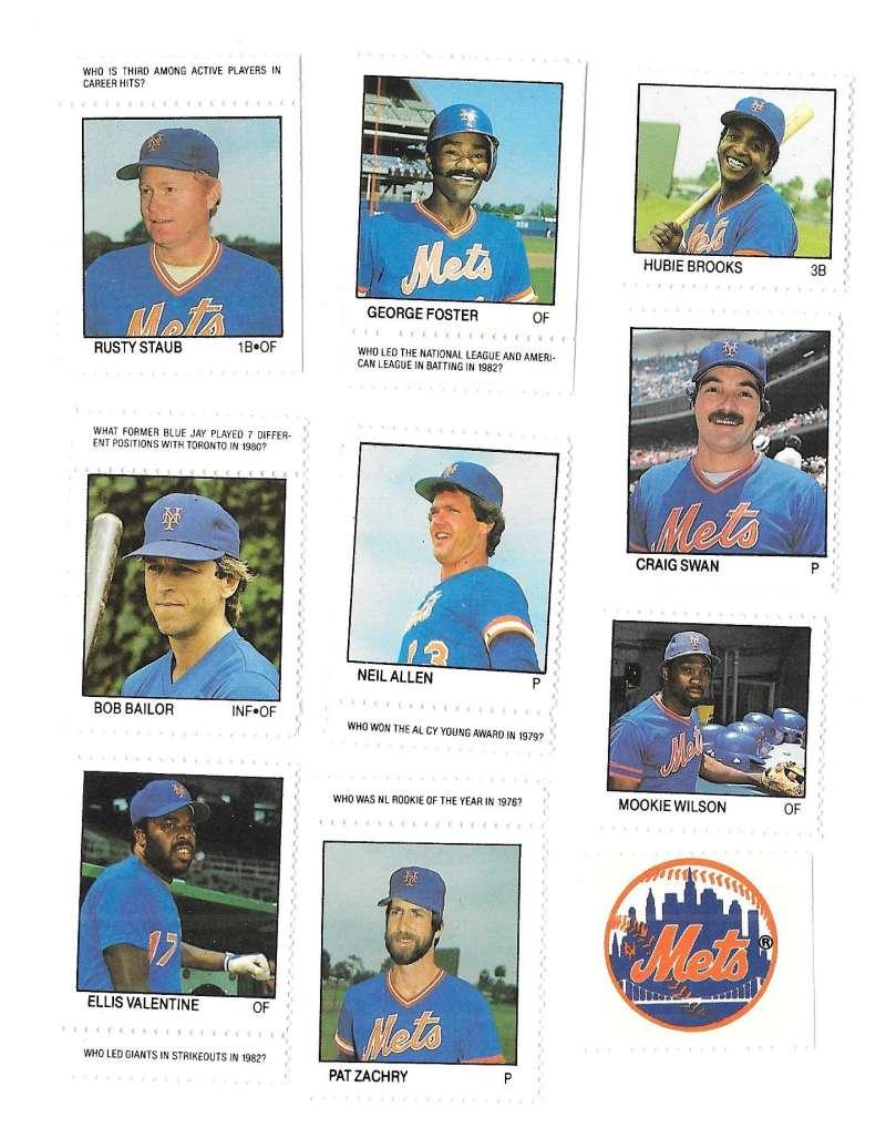 1983 Fleer Stamps NEW YORK METS Team Set