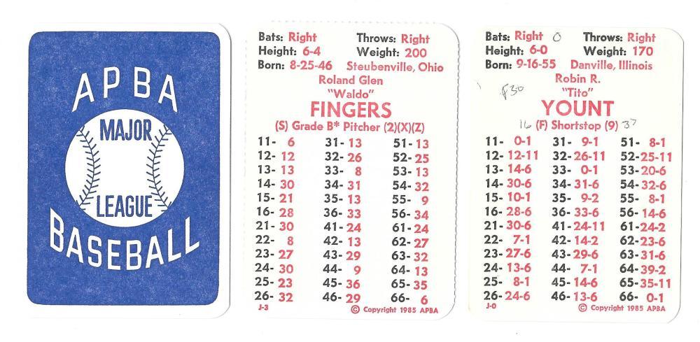 1984 APBA Season w/ Extra Players written on - MILWAUKEE BREWERS Team Set