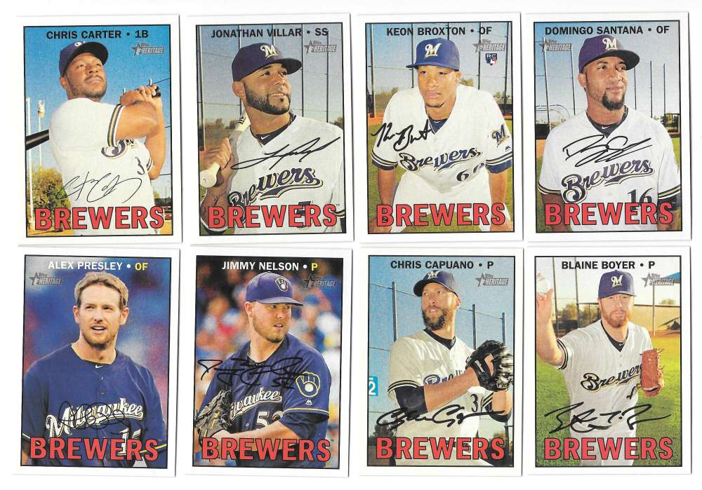 2016 Topps Heritage High (Hi) Numbers (501-725) MILWAUKEE BREWERS Team Set