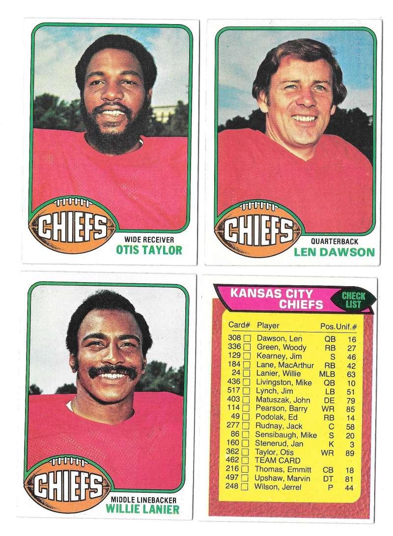 1976 Topps Football Team Set (EX) - KANSAS CITY CHIEFS