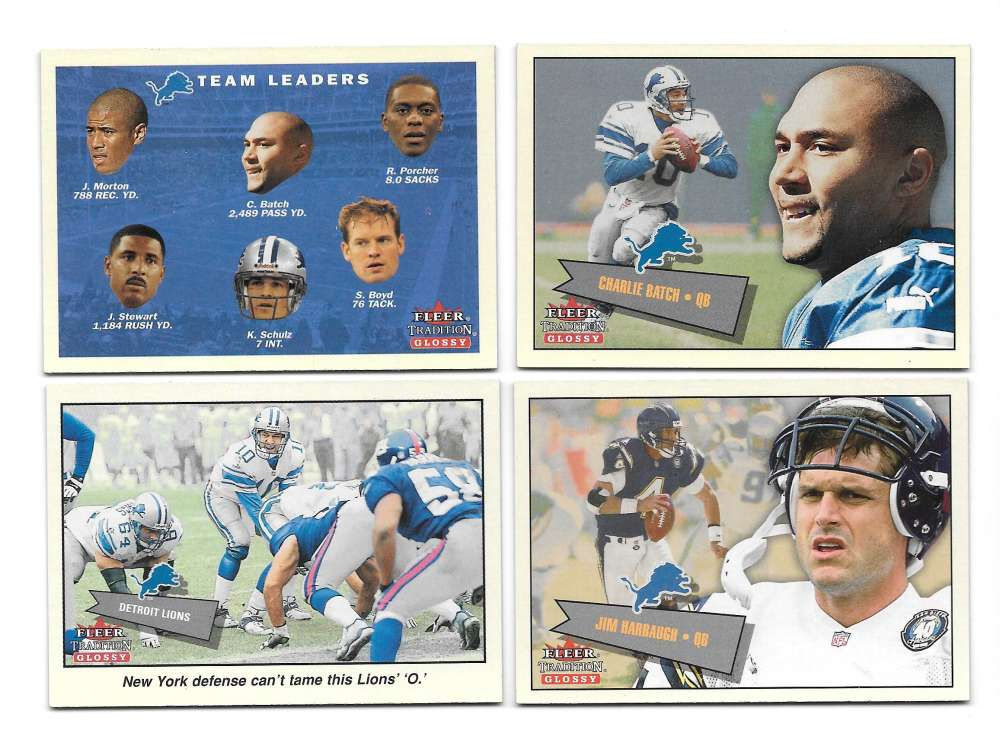 2001 Fleer Tradition Glossy Football (1-400) - DETROIT LIONS