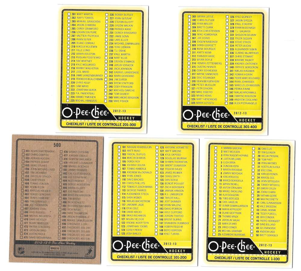 2012-13 O-Pee-Chee (1-500) Hockey - 5 card Checklist