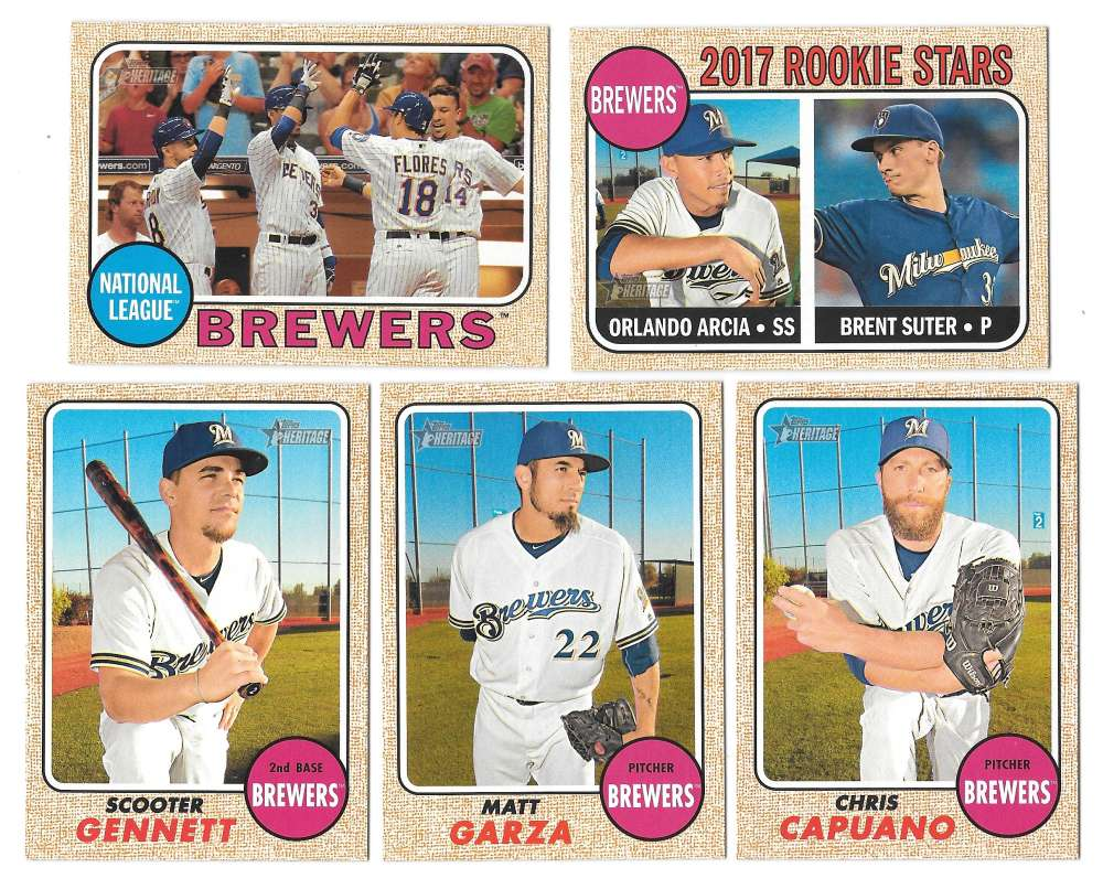 2017 Topps Heritage (1-400) - MILWAUKEE BREWERS Team Set