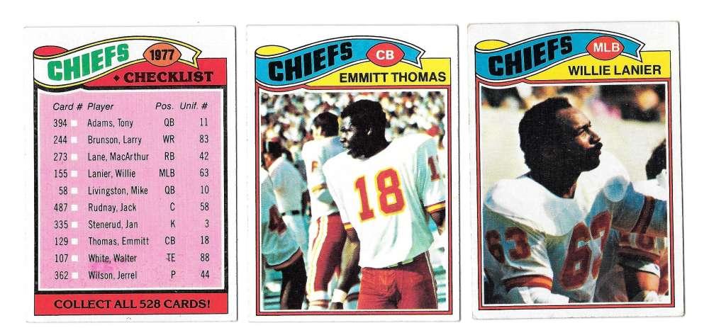 1977 Topps Football (C) Team Set - KANSAS CITY CHIEFS Read
