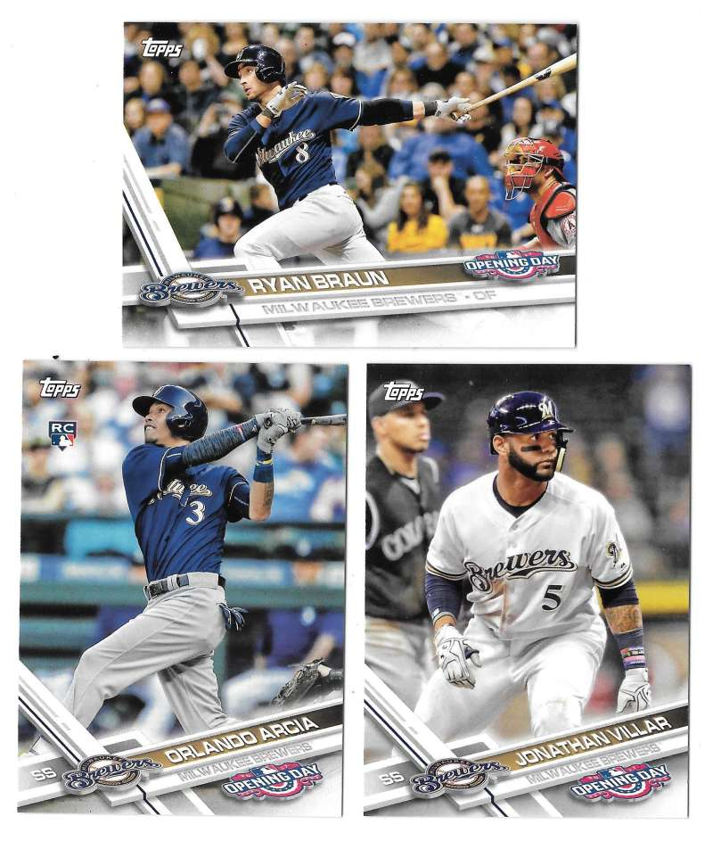 2017 Topps Opening Day - MILWAUKEE BREWERS Team Set