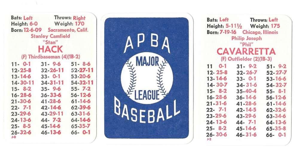 1941 APBA Season - CHICAGO CUBS Team Set