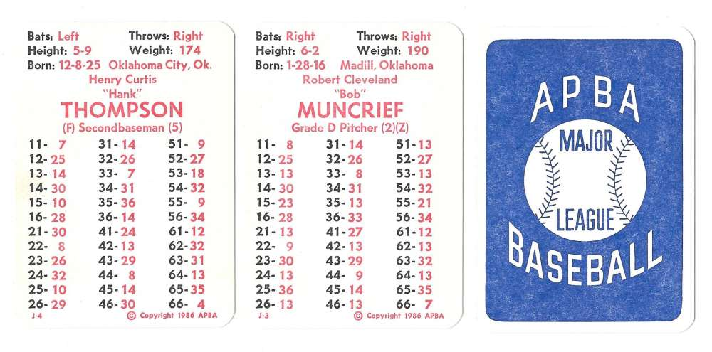 1947 APBA Season - ST LOUIS BROWN (Orioles) Team Set (Issued I986)