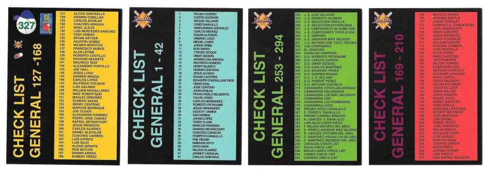 1995-96 LineUp Venezuelan 4 card checklist subset