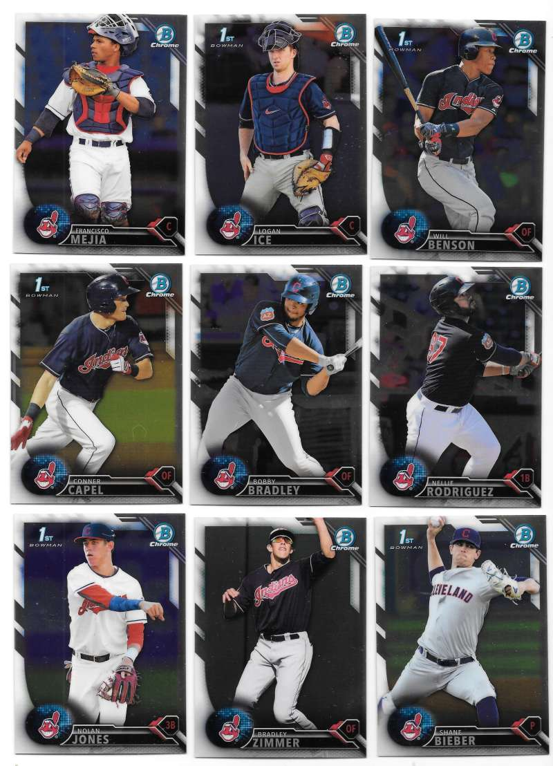 2016 Bowman Chrome Draft - CLEVELAND INDIANS Team Set