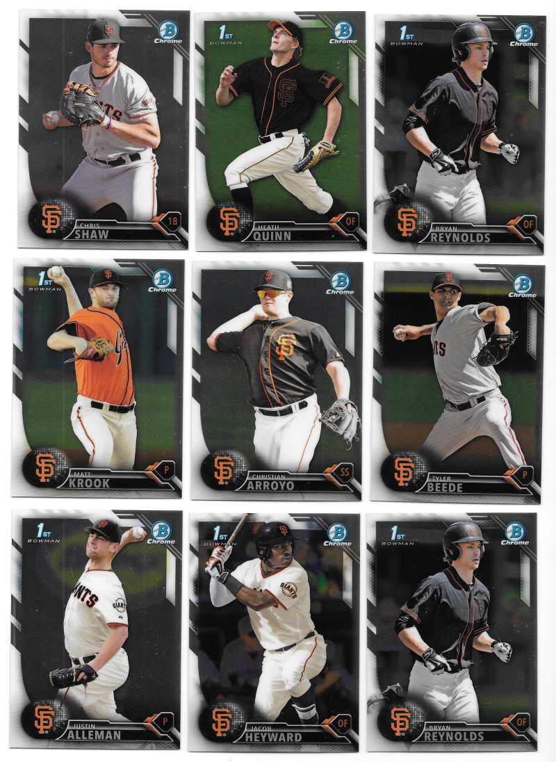 2016 Bowman Chrome Draft - SAN FRANCISCO GIANTS Team Set