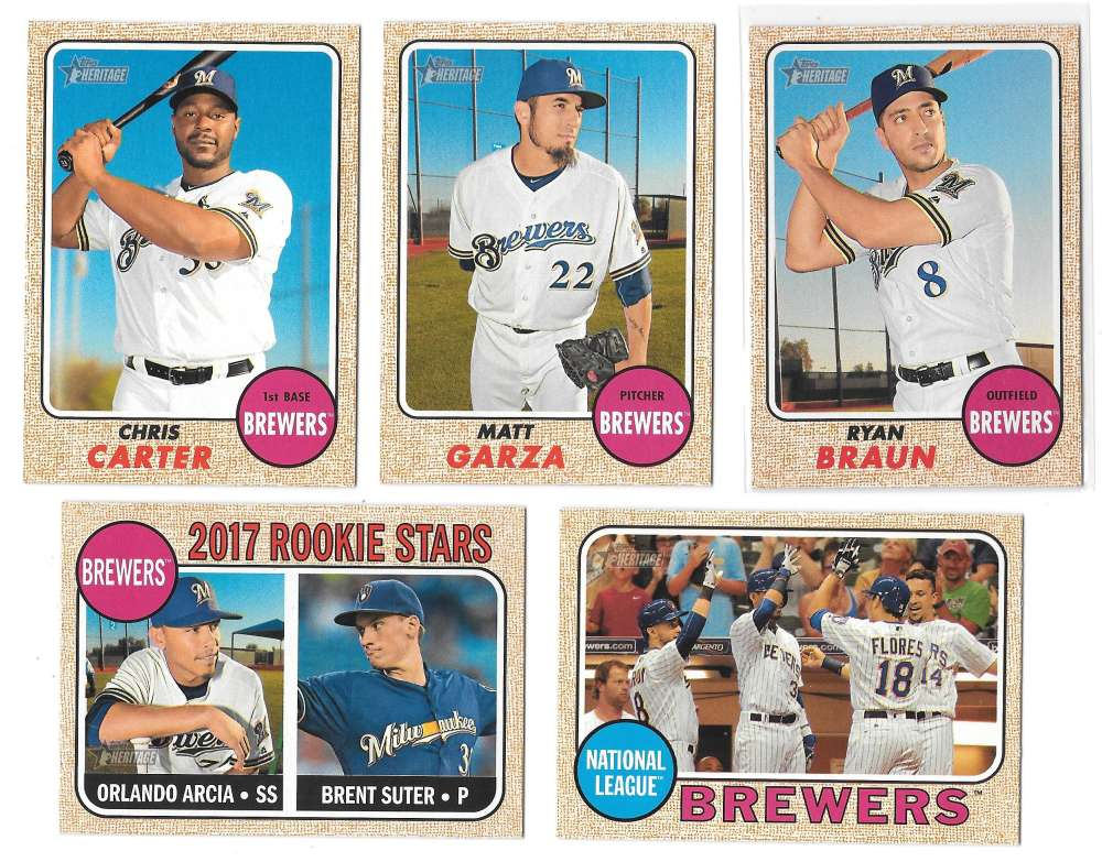 2017 Topps Heritage (1-500) - MILWAUKEE BREWERS Team Set