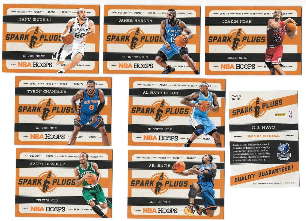 2012-13 Hoops Spark Plugs 20 card complete insert set